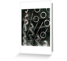 Black and White Monoprint with Red Greeting Card