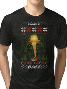 Christmas Leg Lamp Ugly Christmas Sweater Story Top Tri-blend T-Shirt