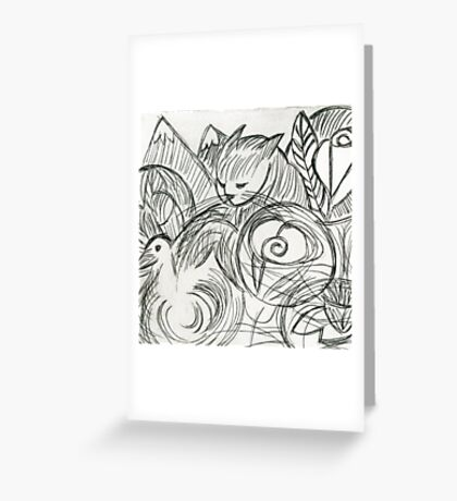 Cat in the Dreamtime Greeting Card
