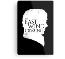 The East Wind Is Coming (White) Metal Print