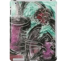 Cat and Flowerpot in Violet and Green iPad Case/Skin