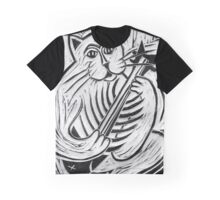Cat Playing A Fishbone Guitar Graphic T-Shirt