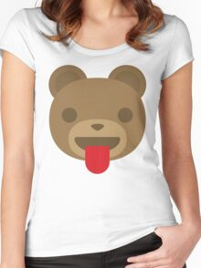 Emoji Teddy Bear Tongue Out Women's Fitted Scoop T-Shirt