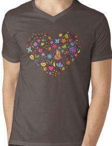 floral  heart  Mens V-Neck T-Shirt