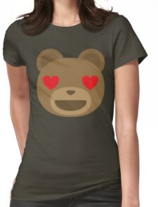 Emoji Teddy Bear Heart and Love Eyes Womens Fitted T-Shirt
