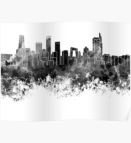 Beijing skyline in black watercolor on white background Poster