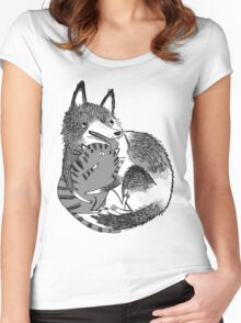 husky loves kitty Women's Fitted Scoop T-Shirt