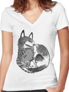 husky loves kitty Women's Fitted V-Neck T-Shirt