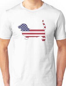 American Flag – Basset Hound Unisex T-Shirt