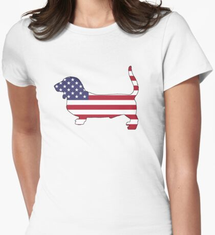 American Flag – Basset Hound Womens Fitted T-Shirt