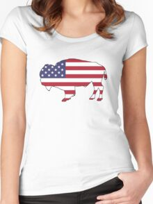 American Flag – Bison Women's Fitted Scoop T-Shirt