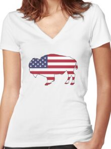 American Flag – Bison Women's Fitted V-Neck T-Shirt