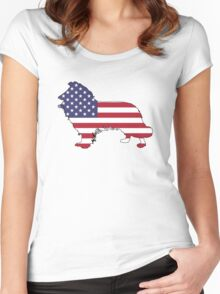 American Flag – Border Collie Women's Fitted Scoop T-Shirt