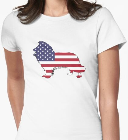 American Flag – Border Collie Womens Fitted T-Shirt