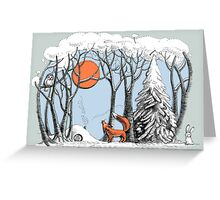 Winter forest landscape with fox and owl. Greeting Card