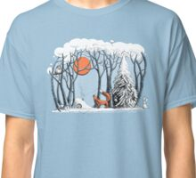 Winter forest landscape with fox and owl. Classic T-Shirt