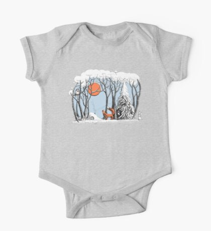 Winter forest landscape with fox and owl. One Piece - Short Sleeve