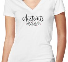 Floral Austenite Women's Fitted V-Neck T-Shirt
