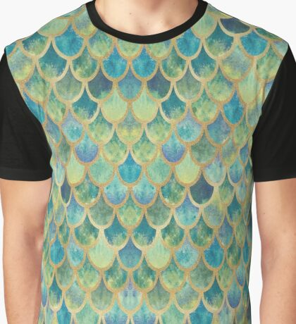 Mermaid Scales (green & gold) Graphic T-Shirt