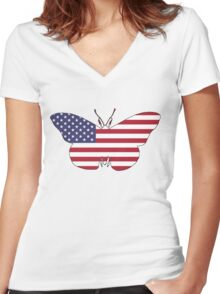 American Flag – Butterfly Women's Fitted V-Neck T-Shirt