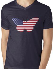 American Flag – Butterfly Mens V-Neck T-Shirt