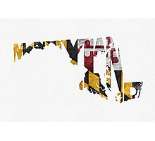 Maryland Typographic Map Flag Photographic Print