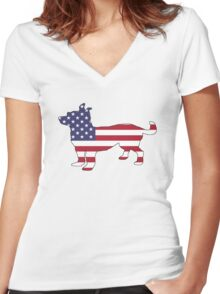 American Flag – Chihuahua Women's Fitted V-Neck T-Shirt