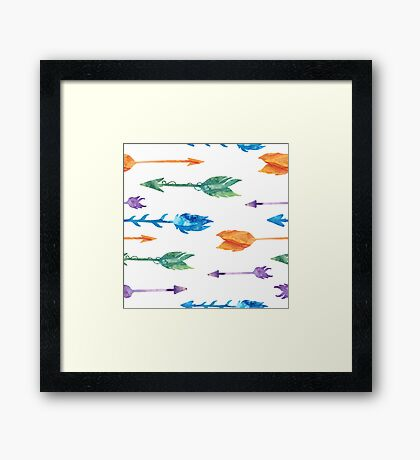 Tribal watercolor arrows Framed Print