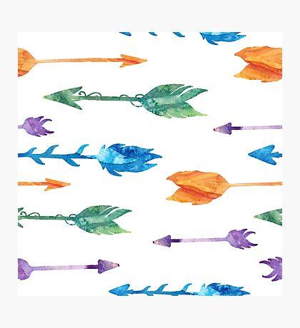Tribal watercolor arrows Photographic Print