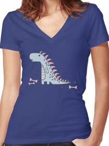 Ornament with dinosaurs, Jurassic Park. Adorable seamless pattern with funny dinosaurs in cartoon Women's Fitted V-Neck T-Shirt