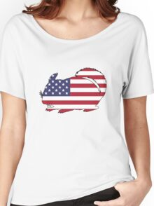 American Flag – Chinchilla Women's Relaxed Fit T-Shirt