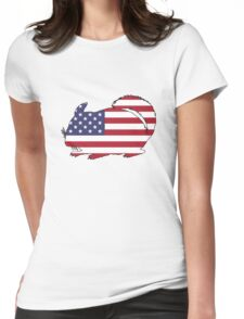 American Flag – Chinchilla Womens Fitted T-Shirt