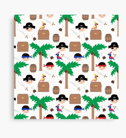 Seamless pirate colorful kids retro background pattern Canvas Print