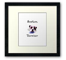 Boston Terrier Pop art watercolor- For Dog Lovers Framed Print