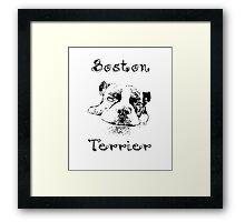 Boston Terrier Black and White- For Dog Lovers Framed Print