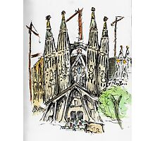 La Sagrada Familia - Watercolour & Pen Photographic Print