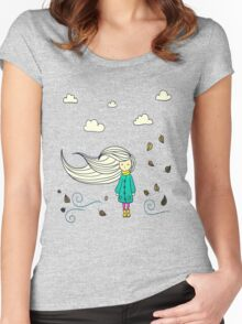 Cute Lovely Beautiful Girl Women's Fitted Scoop T-Shirt
