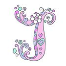 J monogram initial letter decorative typographic by Sarah Trett