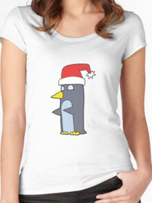 cartoon christmas penguin Women's Fitted Scoop T-Shirt