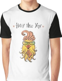 Happy new year 2017 with funny fashion rooster  Graphic T-Shirt
