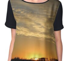 Midewest Nebraska Sunrise with Lines of Clouds Chiffon Top