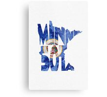 Minnesota Typographic Map Flag Metal Print