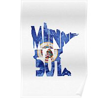 Minnesota Typographic Map Flag Poster