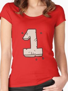 cartoon stone number one Women's Fitted Scoop T-Shirt