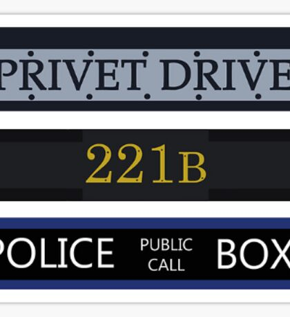 Privet Drive / 221B Baker Street / Police Box Sticker