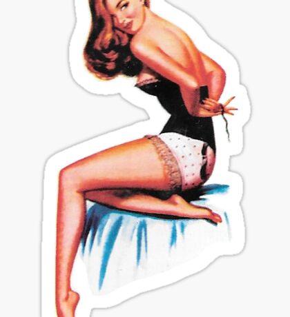 Retro Redhead Pin Up Girl #1 Sticker