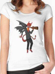The Devil Appeared To Me Growling Through An Old Megaphone Women's Fitted Scoop T-Shirt