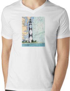 Cape Lookout Lighthouse NC Nautical Chart Peek Mens V-Neck T-Shirt