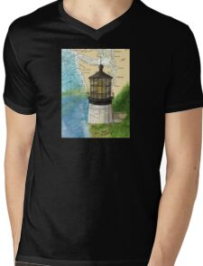 Cape Meares OR Lighthouse Nautical Map Cathy Peek Mens V-Neck T-Shirt