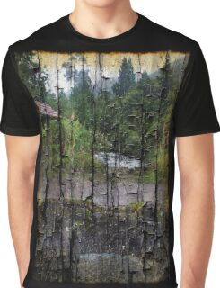 Rushing Cascade In The Andes - On Bark Graphic T-Shirt
